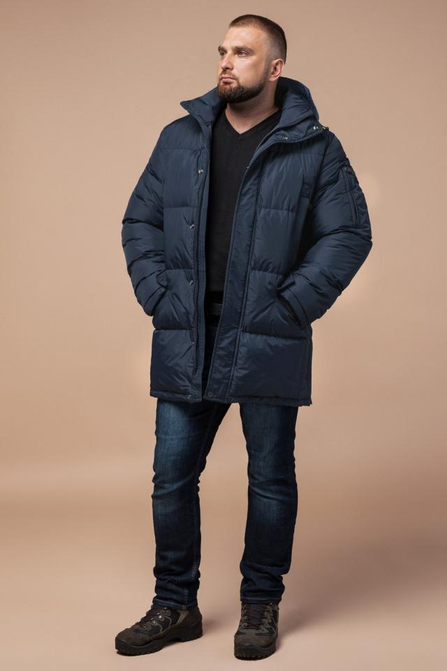"Комфортная куртка зимняя мужская тёмно-синяя модель 27055 Braggart ""Dress Code"" фото 3"