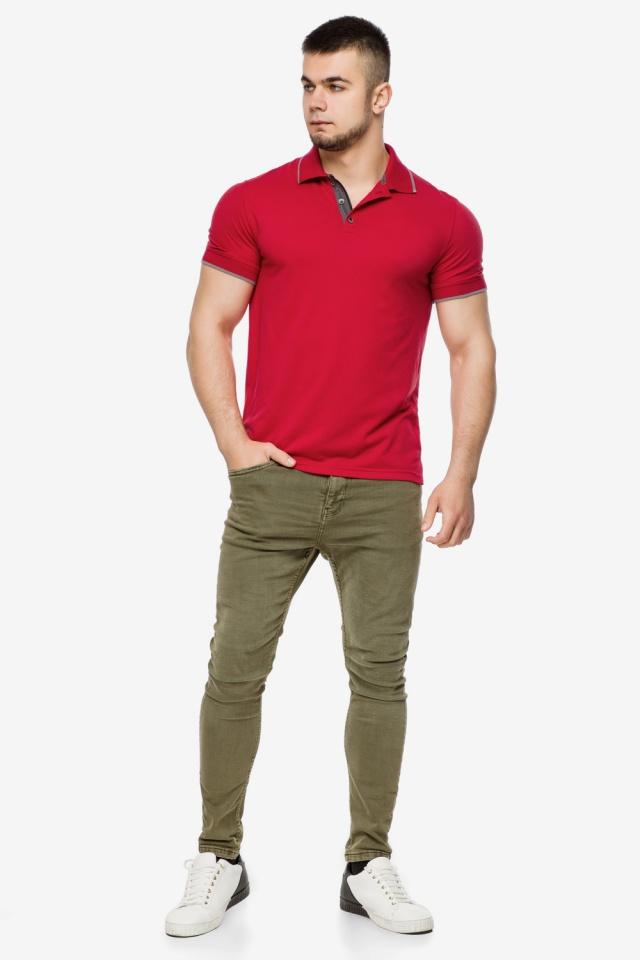 Красная практичная футболка поло мужская модель 6093 Braggart фото 2