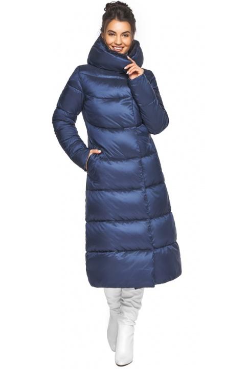 """Жіноча куртка зимова з манжетами колір синій оксамит модель 45085 Braggart """"Angel's Fluff"""" фото 1"""