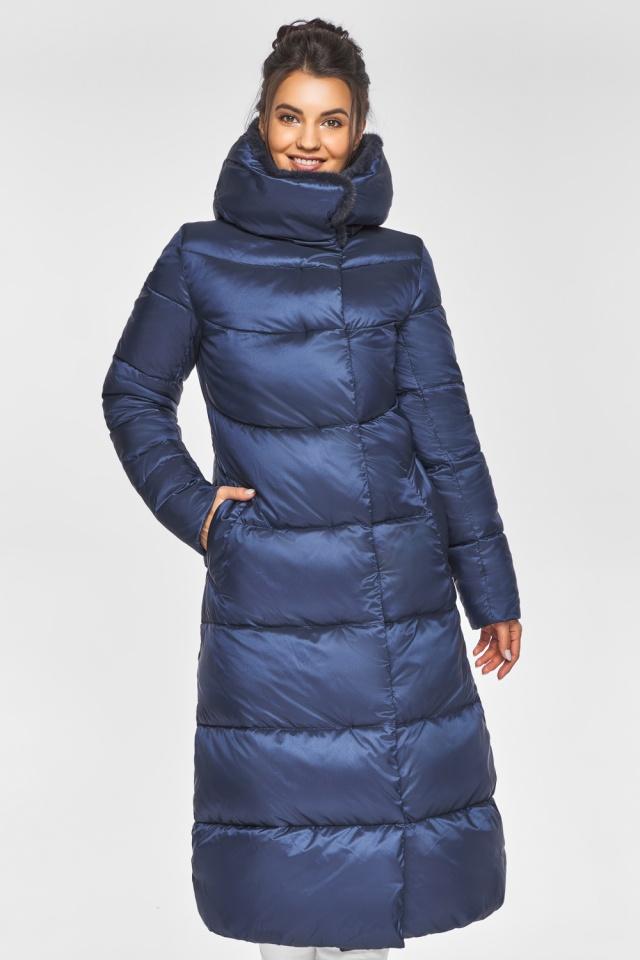 """Женская куртка зимняя с манжетами цвет синий бархат модель 45085 Braggart """"Angel's Fluff"""" фото 4"""