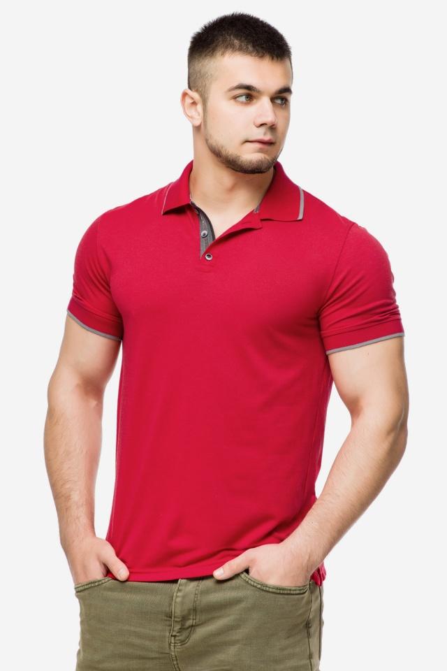 Красная практичная футболка поло мужская модель 6093 Braggart фото 3