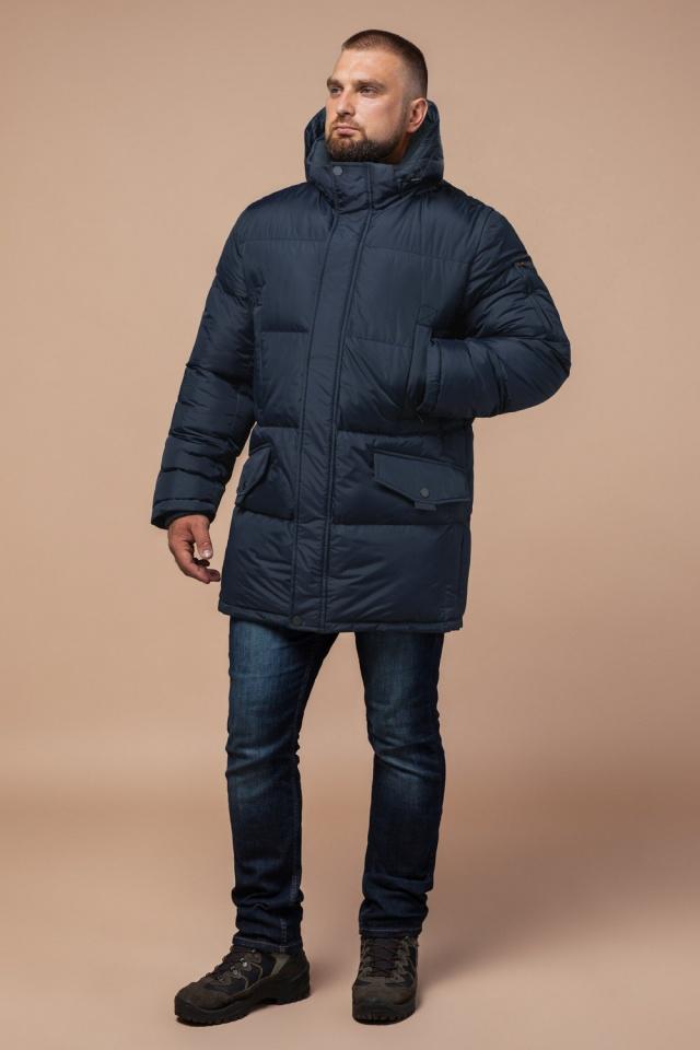 "Комфортная куртка зимняя мужская тёмно-синяя модель 27055 Braggart ""Dress Code"" фото 2"