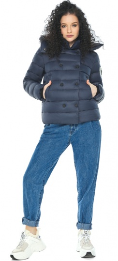 Элегантная куртка-стильнюшка из тонкой ткани тёмно-синяя модель 22150 Youth фото 1