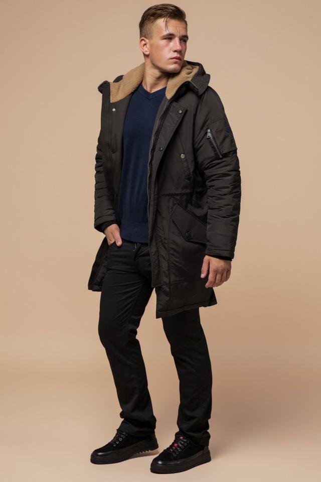 """Парка коричневая мужская удлиненная зимняя модель 90520 Braggart """"Arctic"""" фото 3"""