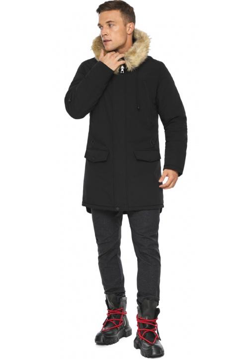 """Куртка – воздуховик чоловічий комфортний чорний зимовий модель 45062 Braggart """"Angel's Fluff Man"""" фото 1"""