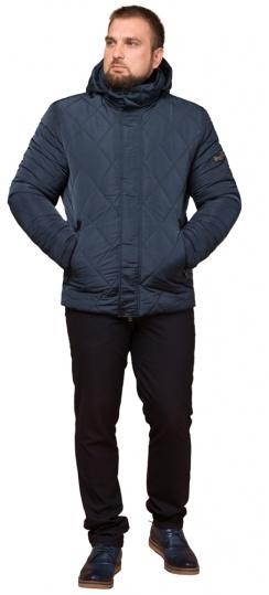 """Светло-синяя зимняя куртка модного дизайна мужская модель 19121 Braggart """"Dress Code"""" фото 1"""