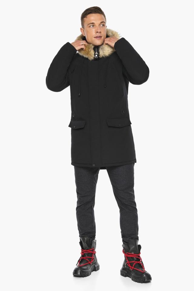 """Куртка – воздуховик мужской комфортный чёрный зимний модель 45062 Braggart """"Angel's Fluff Man"""" фото 5"""