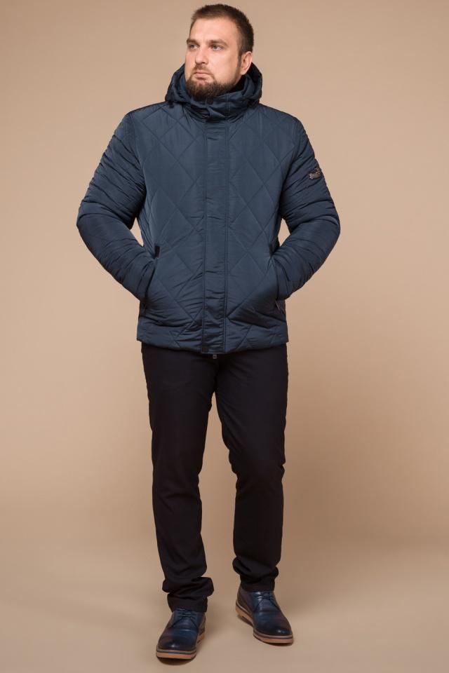 """Светло-синяя зимняя куртка модного дизайна мужская модель 19121 Braggart """"Dress Code"""" фото 2"""