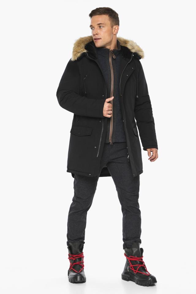 """Куртка – воздуховик мужской комфортный чёрный зимний модель 45062 Braggart """"Angel's Fluff Man"""" фото 3"""