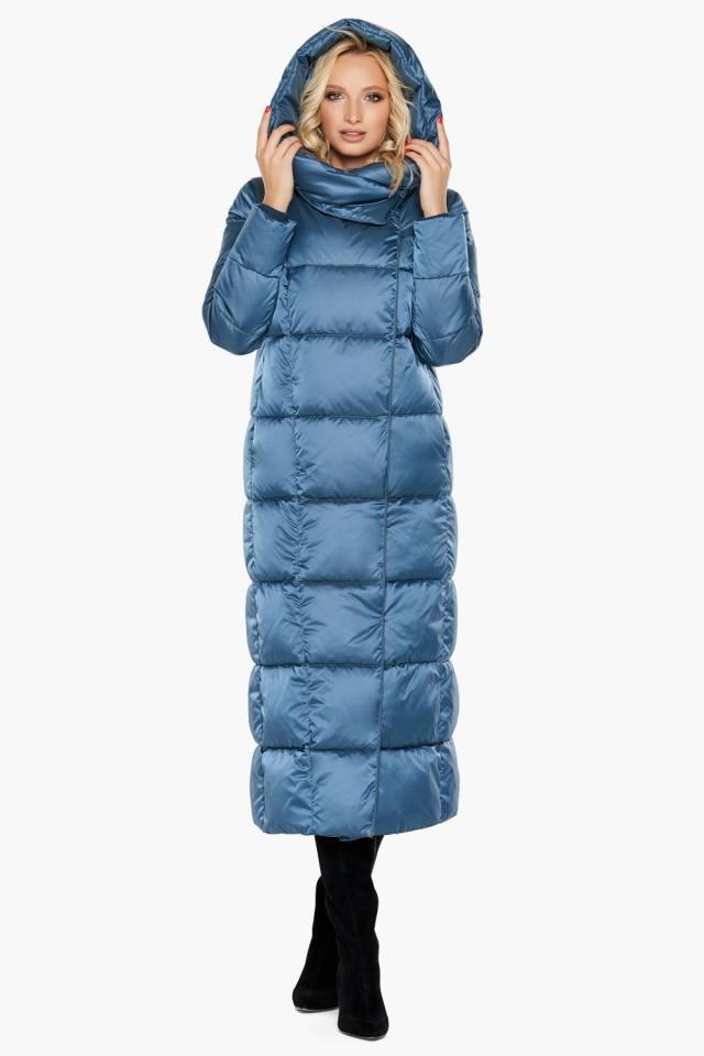 """Длинная женская куртка аквамариновая модель 31056 Braggart """"Angel's Fluff"""" фото 5"""