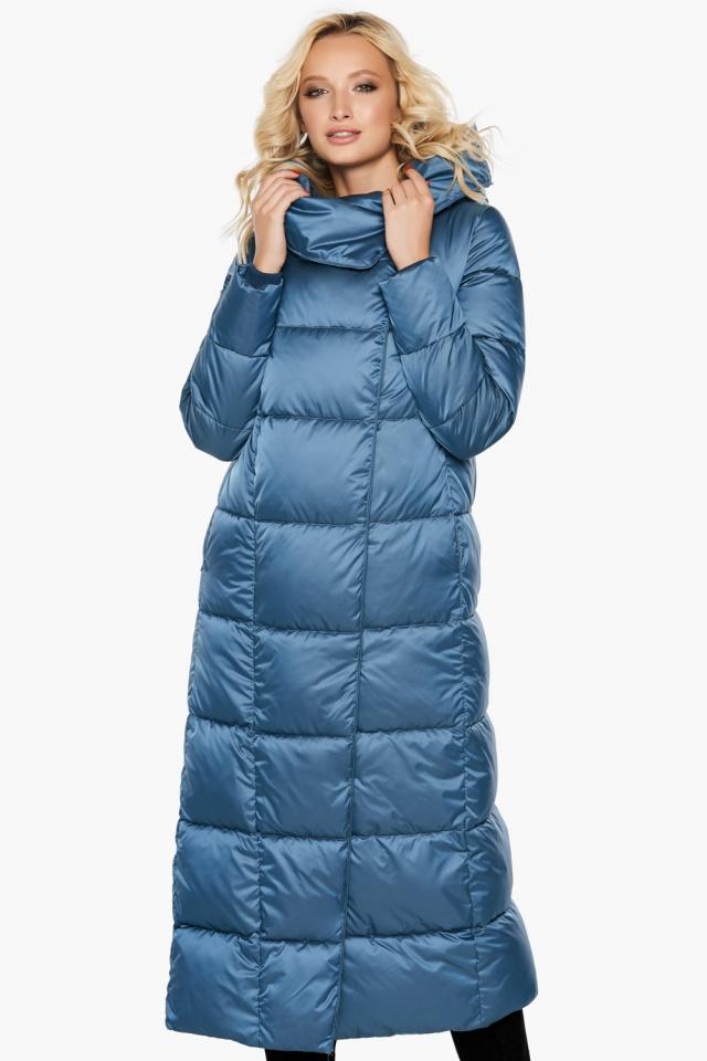 """Длинная женская куртка аквамариновая модель 31056 Braggart """"Angel's Fluff"""" фото 4"""