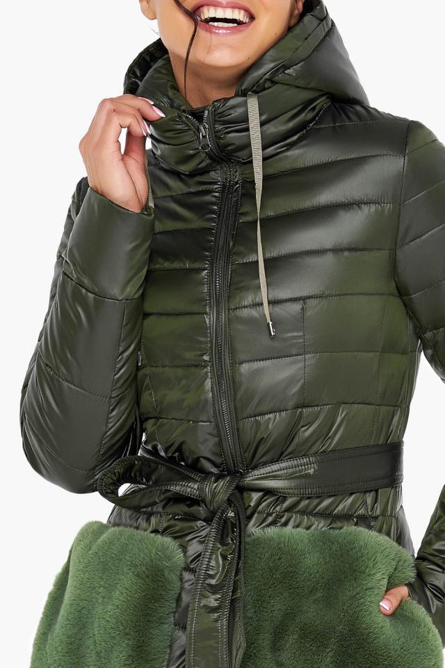 """Брендовая куртка женская осенне-весенняя цвет темный хаки модель 31845 Braggart """"Angel's Fluff"""" фото 7"""