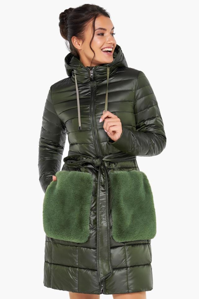 """Брендовая куртка женская осенне-весенняя цвет темный хаки модель 31845 Braggart """"Angel's Fluff"""" фото 3"""
