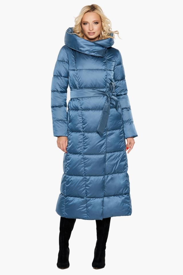 """Длинная женская куртка аквамариновая модель 31056 Braggart """"Angel's Fluff"""" фото 2"""