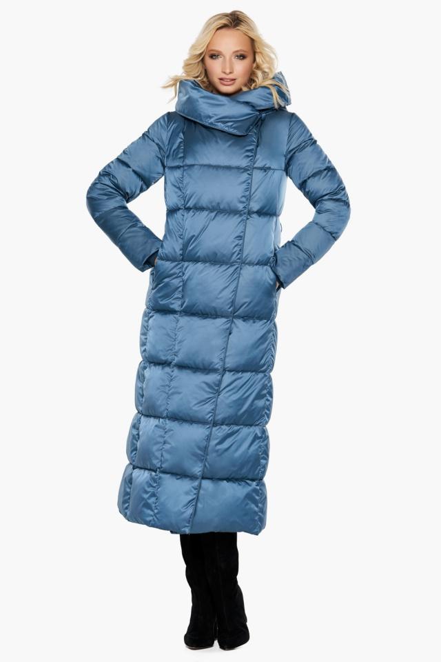 """Длинная женская куртка аквамариновая модель 31056 Braggart """"Angel's Fluff"""" фото 3"""