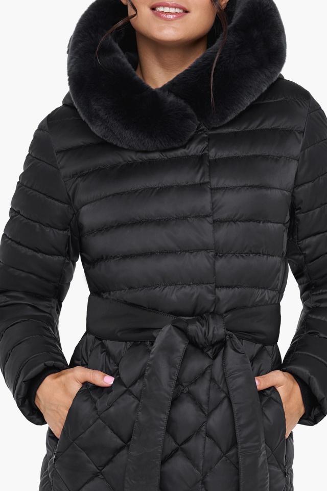 Женская зимняя куртка непромокаемая цвет черный модель 31012