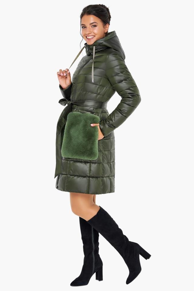 """Брендовая куртка женская осенне-весенняя цвет темный хаки модель 31845 Braggart """"Angel's Fluff"""" фото 2"""