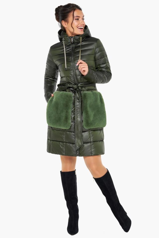 """Брендовая куртка женская осенне-весенняя цвет темный хаки модель 31845 Braggart """"Angel's Fluff"""" фото 5"""