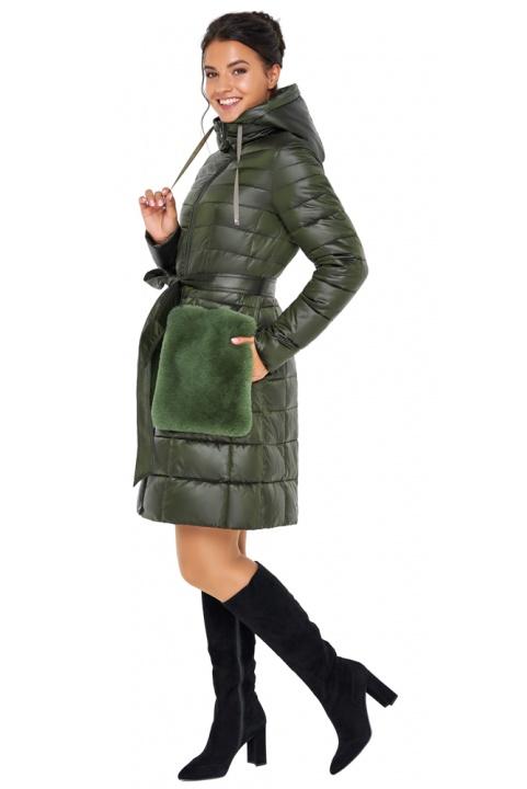 """Брендовая куртка женская осенне-весенняя цвет темный хаки модель 31845 Braggart """"Angel's Fluff"""" фото 1"""