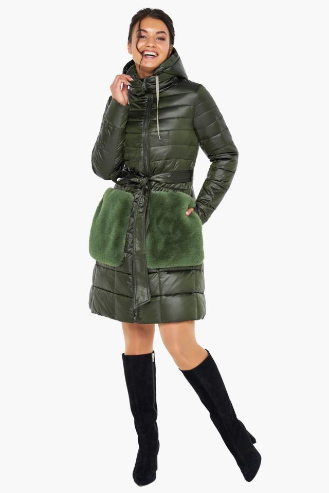 """Брендовая куртка женская осенне-весенняя цвет темный хаки модель 31845 Braggart """"Angel's Fluff"""" фото 4"""