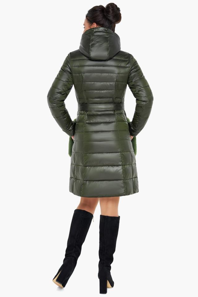 """Брендовая куртка женская осенне-весенняя цвет темный хаки модель 31845 Braggart """"Angel's Fluff"""" фото 6"""