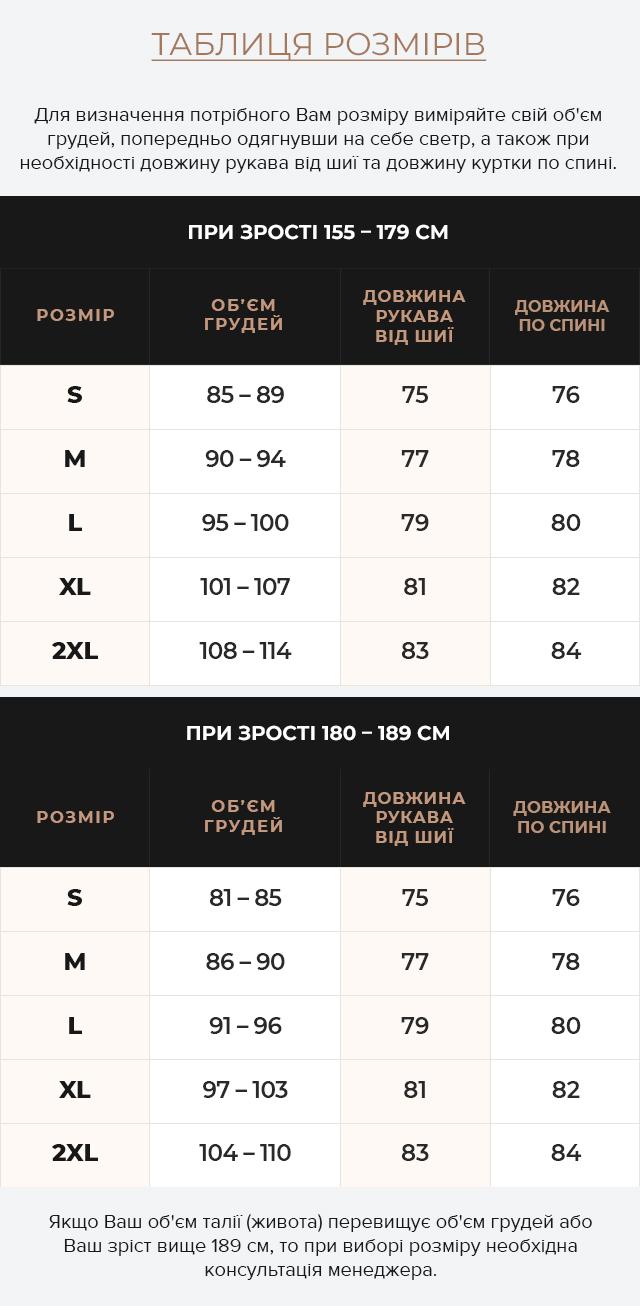 Таблиця розмірів Модна чоловіча куртка для зими темно-зелена модель 25140