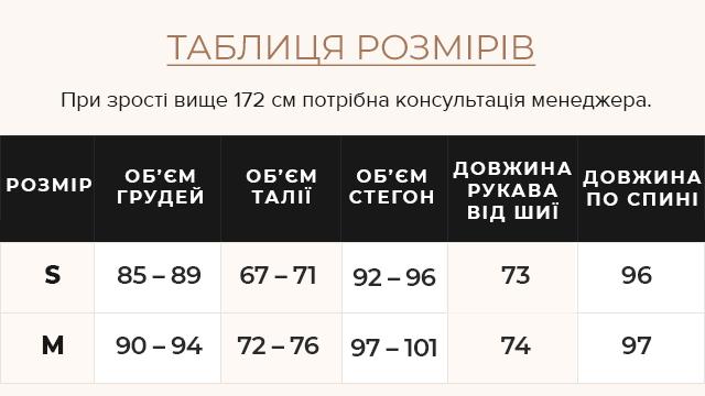 Таблиця розмірів Жіноча графітова куртка зимова з оригінальною хутряною опушкою модель 085