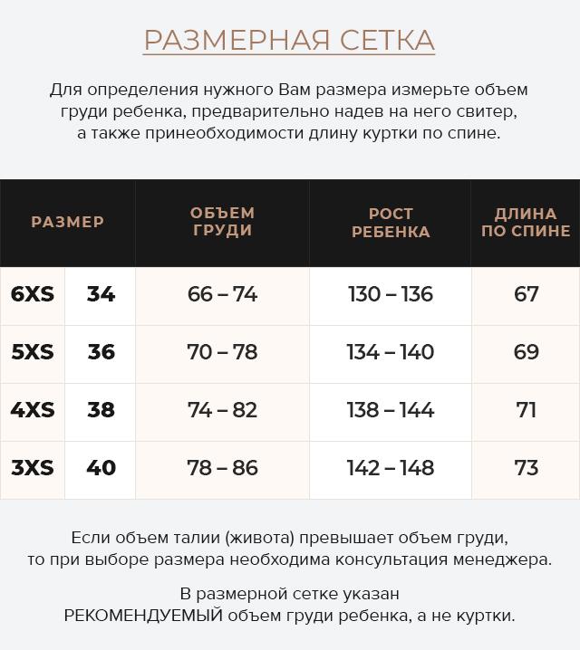 Таблица размеров Графитовая детская зимняя куртка модель 60455