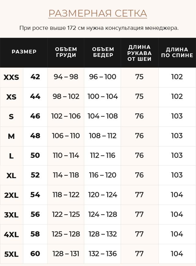 Таблица размеров Рубиновая куртка на зиму женская модель 31046
