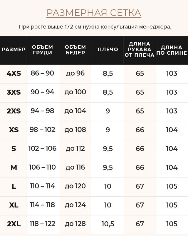 Таблица размеров Куртка капучиновая женская оригинальная зимняя модель 46510