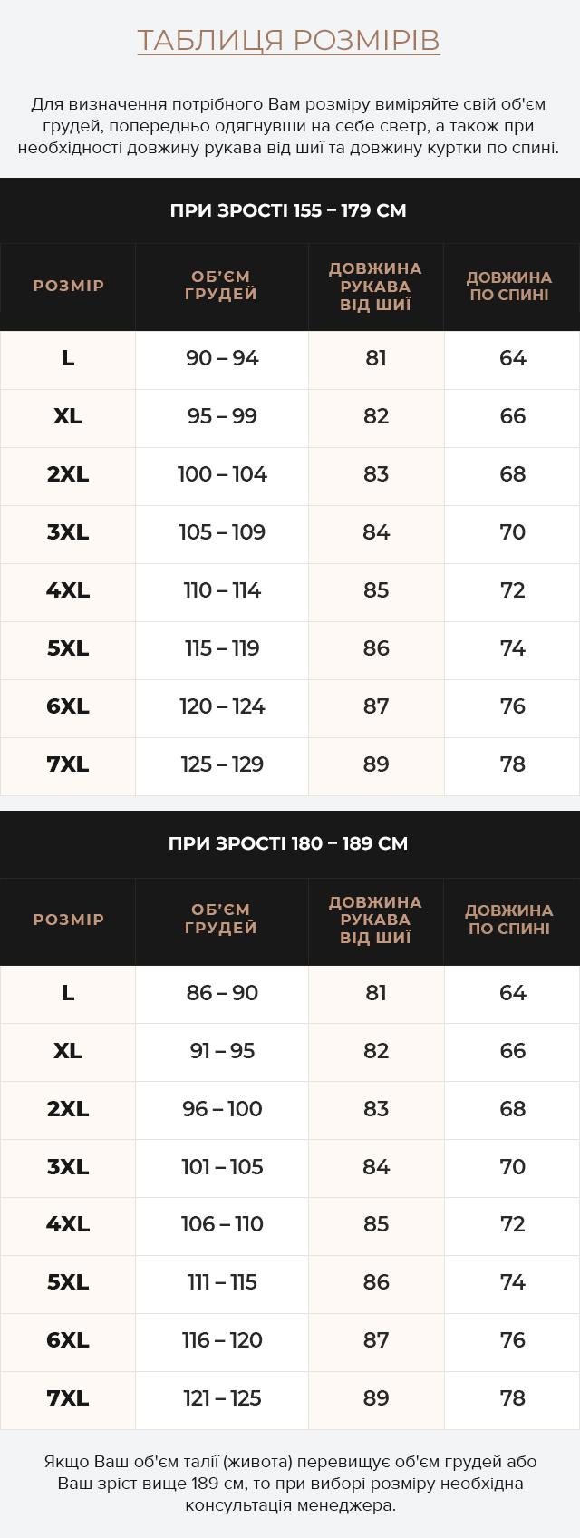 Таблиця розмірів Модна куртка на хлопчика колір хакі модель 2193