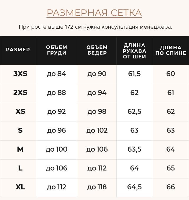 Таблица размеров Куртка сапфировая женская осенне-весенняя с внешними карманами модель 67510