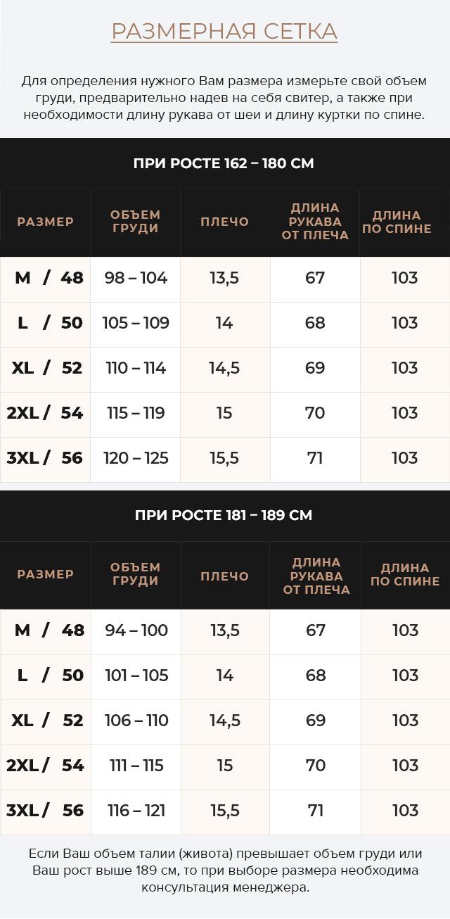 Таблица размеров Зимняя графитовая куртка классического кроя для мужчин модель 49318
