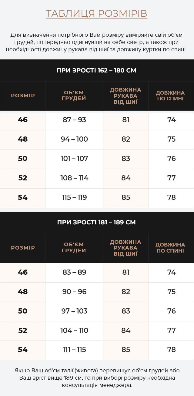 Таблиця розмірів Чоловіча графітова куртка зимова стьобана модель 30538