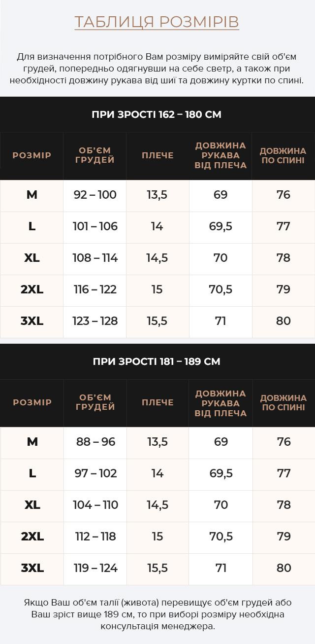 Таблиця розмірів Куртка – воздуховик на зиму чоловічий горіховий модель 35230