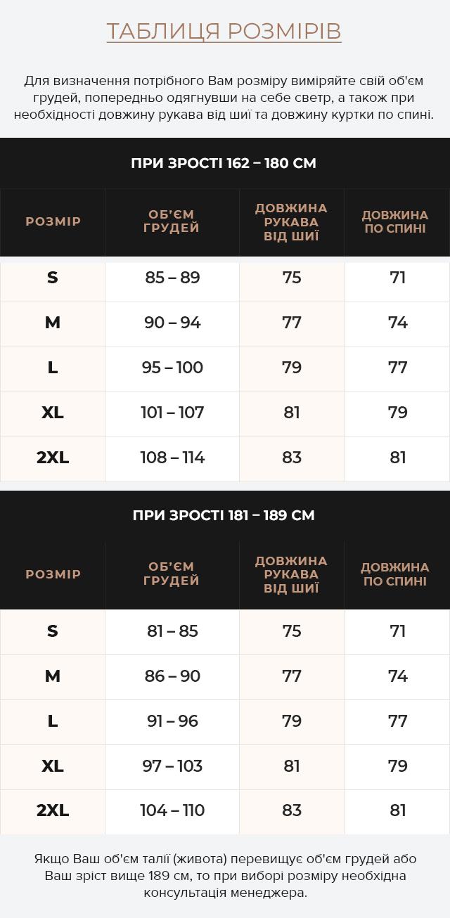 Таблиця розмірів Тепла куртка кольору кави чоловіча зимова модель 78270
