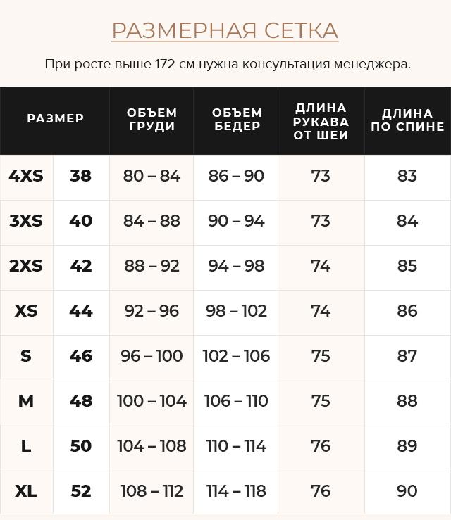 Таблица размеров Куртка трендовая синяя женская модель 31038