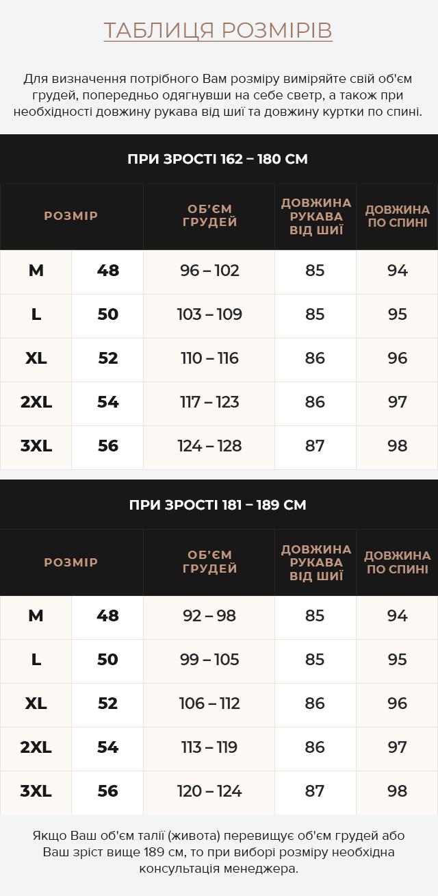 Таблиця розмірів Куртка – воздуховик кольору графіту чоловічий зимовий модель 38012