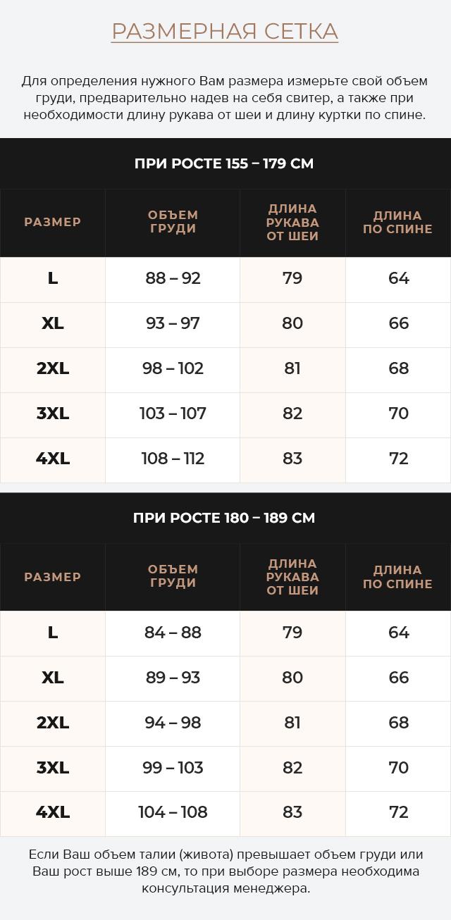 Таблица размеров Куртка-кожанка осень-весна цвет хаки модель 4834