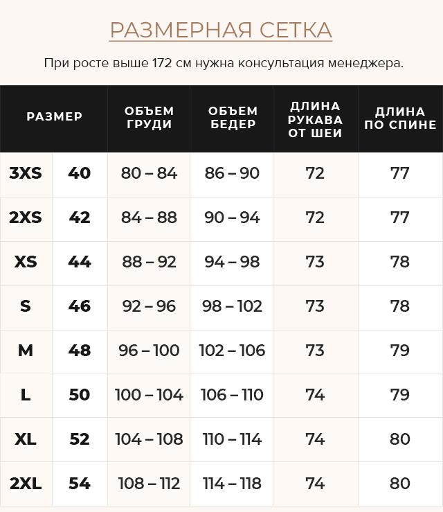 Таблица размеров Женская зимняя капучиновая куртка модель 31064