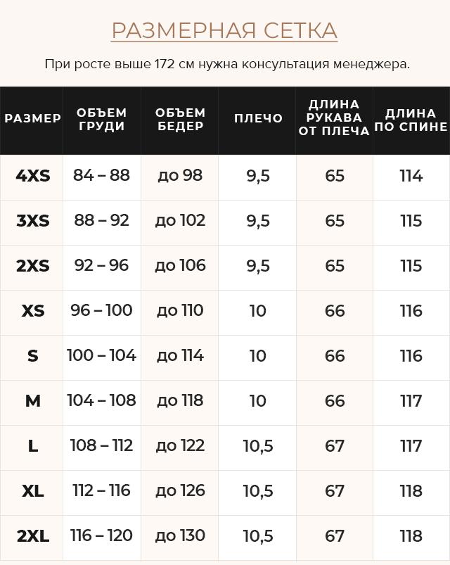 Таблица размеров Черная куртка с карманами женская модель 47260