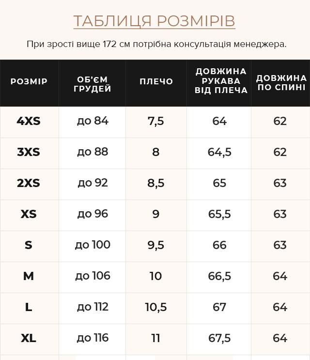 Таблиця розмірів Куртка синя коротка жіноча модель 43560