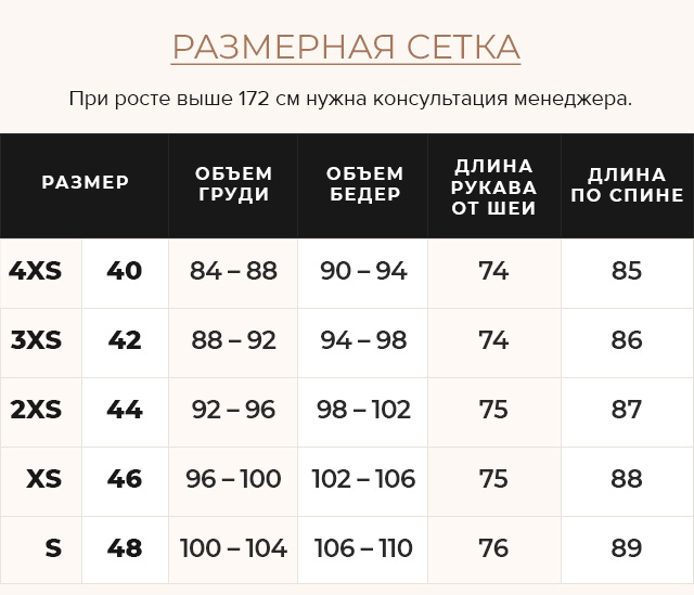 Таблица размеров Нефритовая куртка удобного фасона женская осенне-весенняя модель 21025