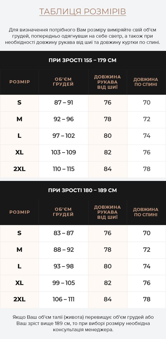 Таблиця розмірів Вкорочена куртка на зиму чоловіча синя модель 25780
