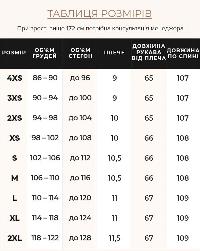 Таблиця розмірів Баклажанова куртка з брендовою фурнітурою жіноча модель 47575
