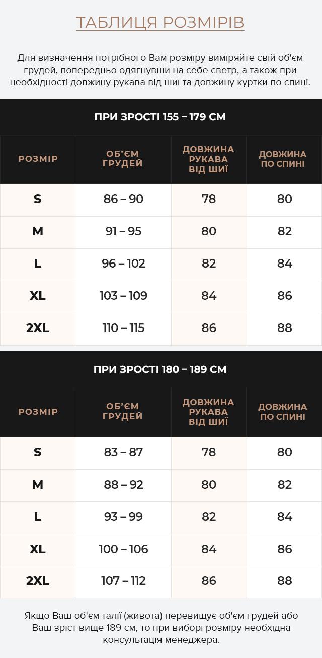 Таблиця розмірів Чоловіча куртка зимова фірмова чорна модель 25380