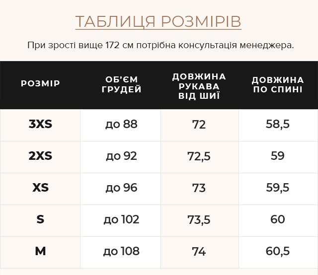 Таблиця розмірів Жіноча куртка сапфірова комфортна осінньо-весняна модель 64150