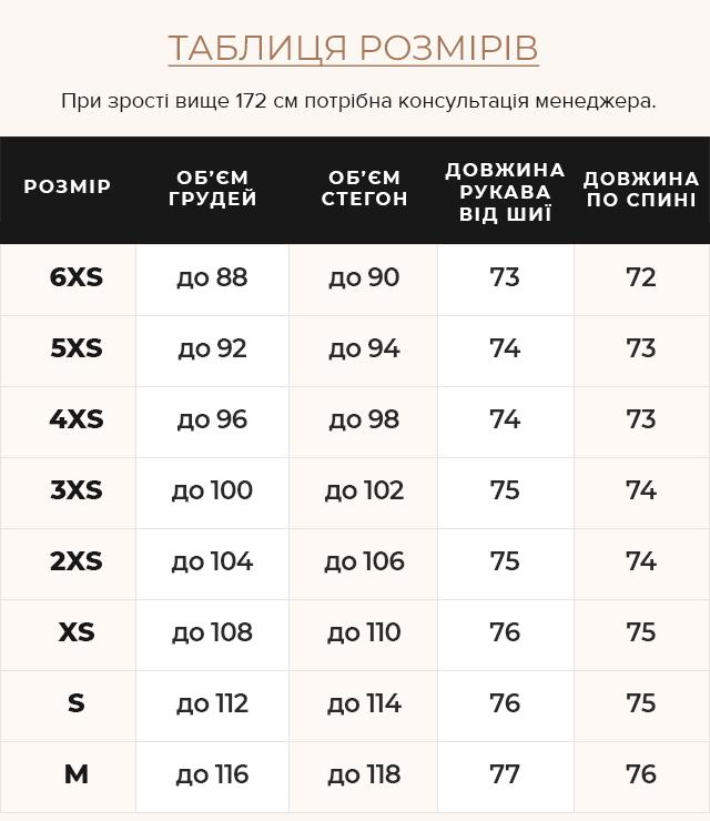 Таблиця розмірів Осіння куртка оригінальна на дівчинку пудрова модель 24350