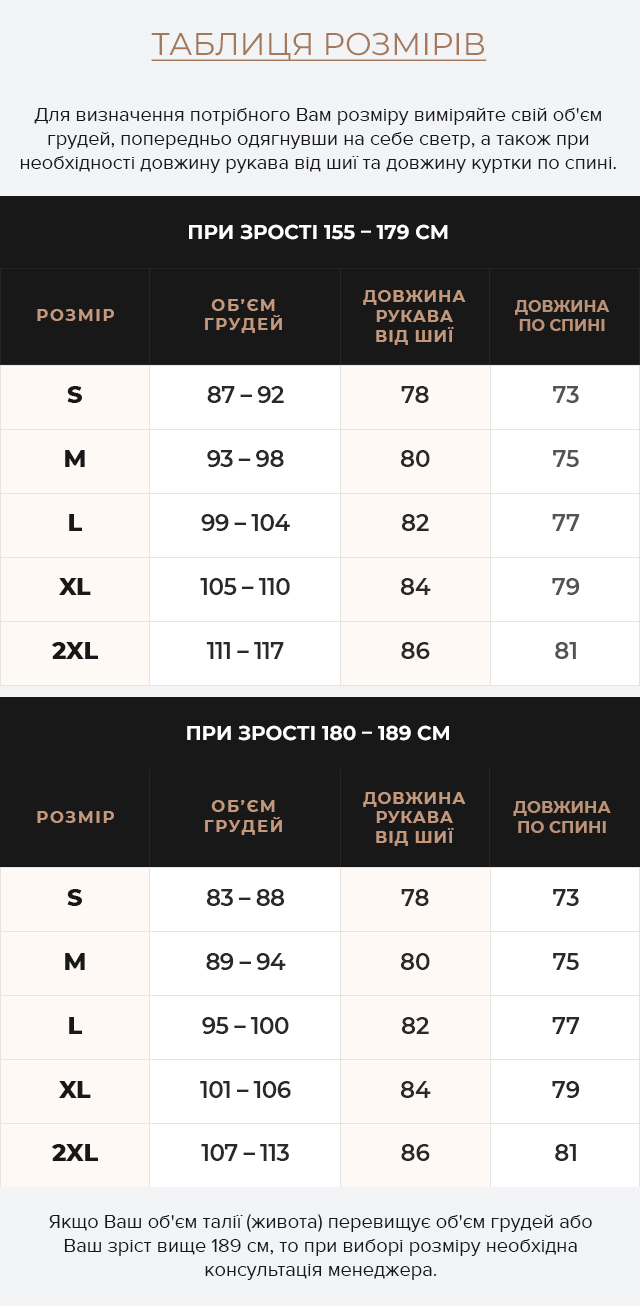 Таблиця розмірів Підліткова тепла парка на хлопчика чорна модель 25770