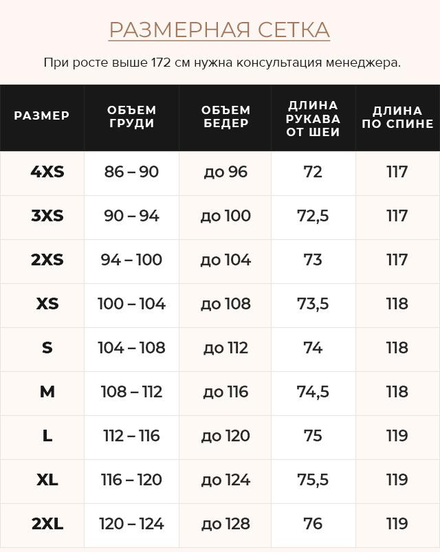 Таблица размеров Чёрная куртка женская тёплая зимняя модель 46150